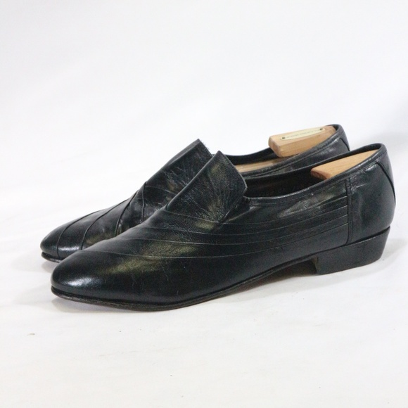 VTG STACY ADAMS Mens Black Leather Loafers